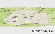 Shaded Relief Panoramic Map of Dedu, physical outside
