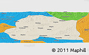 Shaded Relief Panoramic Map of Dedu, political outside