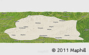 Shaded Relief Panoramic Map of Dedu, satellite outside