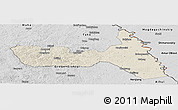 Shaded Relief Panoramic Map of Huma, desaturated