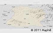 Shaded Relief Panoramic Map of Mulan, desaturated