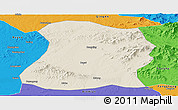 Shaded Relief Panoramic Map of Mulan, political outside