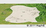 Shaded Relief Panoramic Map of Mulan, satellite outside