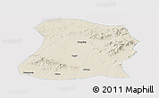 Shaded Relief Panoramic Map of Mulan, single color outside