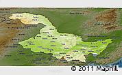 Physical Panoramic Map of Heilongjiang, darken