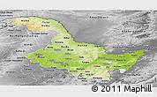 Physical Panoramic Map of Heilongjiang, desaturated