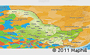 Physical Panoramic Map of Heilongjiang, political outside