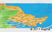 Political Shades Panoramic Map of Heilongjiang