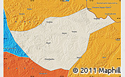 Shaded Relief Map of Sunwu, political outside