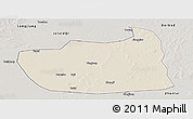 Shaded Relief Panoramic Map of Tailai, semi-desaturated