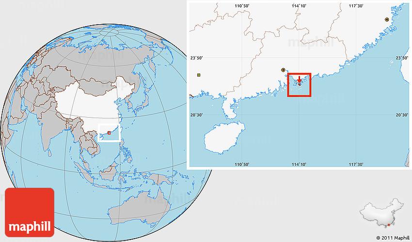 Gray Location Map Of Hongkong Island Highlighted Country