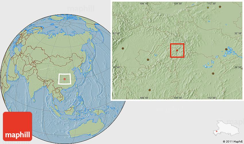 Savanna Style Location Map Of Enshi Shi Hill Shading - Enshi map