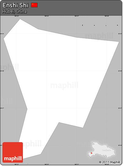 Free Gray Simple Map Of Enshi Shi - Enshi map