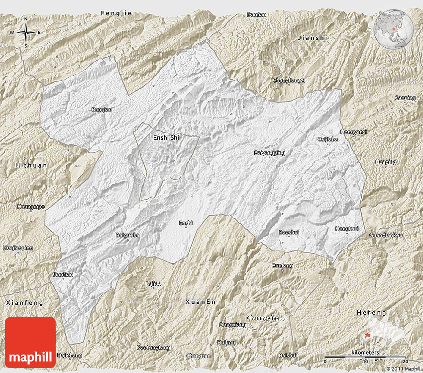 Classic Style D Map Of Enshi - Enshi map