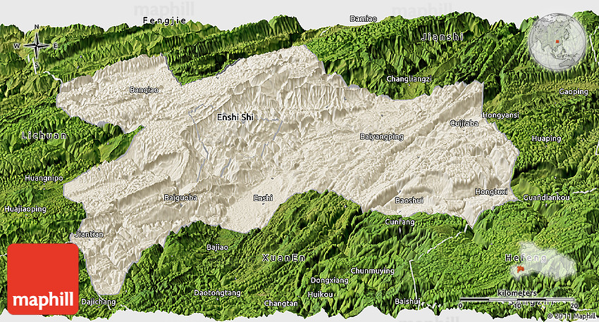 Shaded Relief Panoramic Map Of Enshi Satellite Outside - Enshi map