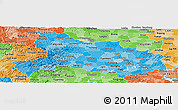 Political Shades Panoramic Map of Hubei