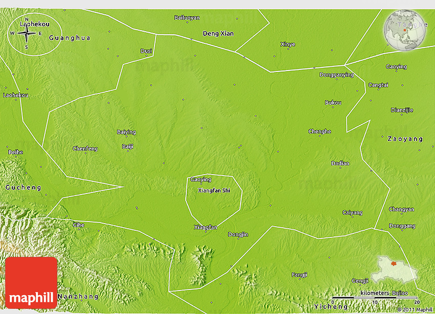 Physical 3D Map of Xiangyang