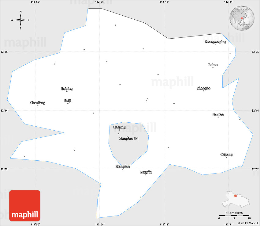 Silver Style Simple Map of Xiangyang, single color outside