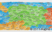 Political Shades Panoramic Map of Hunan