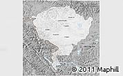 Gray 3D Map of Jammu and Kashmir