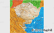 Satellite 3D Map of Jammu and Kashmir, political outside