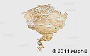 Satellite 3D Map of Jammu and Kashmir, single color outside