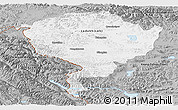 Gray Panoramic Map of Jammu and Kashmir