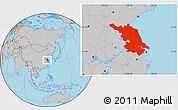 Gray Location Map of Jiangsu