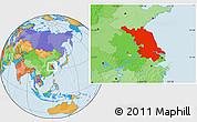 Political Location Map of Jiangsu