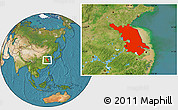 Satellite Location Map of Jiangsu