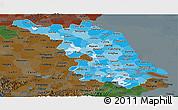 Political Shades Panoramic Map of Jiangsu, darken