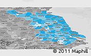 Political Shades Panoramic Map of Jiangsu, desaturated