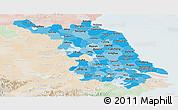 Political Shades Panoramic Map of Jiangsu, lighten