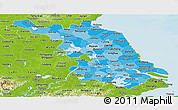 Political Shades Panoramic Map of Jiangsu, physical outside