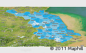 Political Shades Panoramic Map of Jiangsu, satellite outside