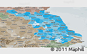 Political Shades Panoramic Map of Jiangsu, semi-desaturated