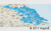Political Shades Panoramic Map of Jiangsu, shaded relief outside