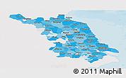 Political Shades Panoramic Map of Jiangsu, single color outside