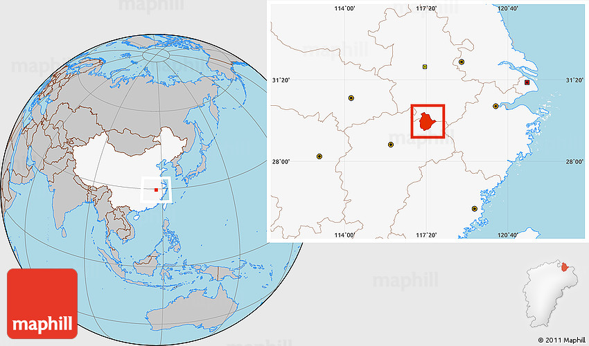 Gray Location Map Of Jingdezhen Shi Highlighted Country - Jingdezhen map