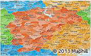Political Shades Panoramic Map of Jiangxi