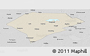 Shaded Relief Panoramic Map of Da An, desaturated