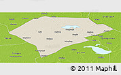 Shaded Relief Panoramic Map of Da An, physical outside
