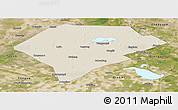 Shaded Relief Panoramic Map of Da An, satellite outside