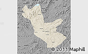 Shaded Relief Map of Huadian, darken, desaturated
