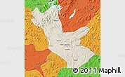 Shaded Relief Map of Huadian, political outside