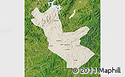 Shaded Relief Map of Huadian, satellite outside
