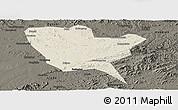 Shaded Relief Panoramic Map of Huinan, darken