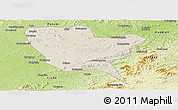 Shaded Relief Panoramic Map of Huinan, physical outside