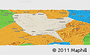 Shaded Relief Panoramic Map of Huinan, political outside