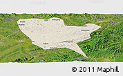 Shaded Relief Panoramic Map of Huinan, satellite outside